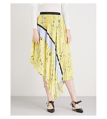 SELF-PORTRAIT Pleated Asymmetric Floral Printed crepe-de-chine skirt (Yellow