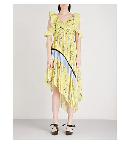 SELF-PORTRAIT Pleated Asymmetric Floral Printed crepe-de-chine dress (Yellow