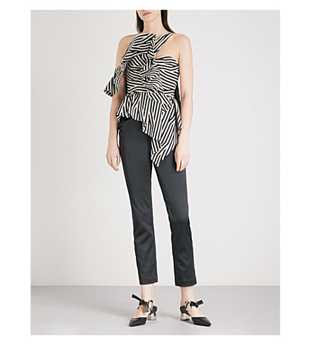 SELF-PORTRAIT Abstract Stripe Asymmetric Ruffle woven and satin jumpsuit (Black-white
