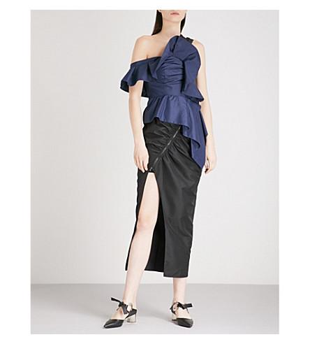SELF-PORTRAIT Asymmetric Ruffle woven midi dress (Navy-black