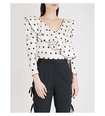 SELF-PORTRAIT Printed Star Frilled satin top (Ivory