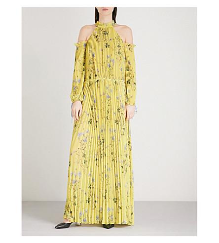SELF-PORTRAIT Floral printed cold-shoulder chiffon maxi dress (Yellow