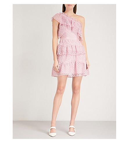 SELF-PORTRAIT One-shoulder guipure-lace mini dress (Pink