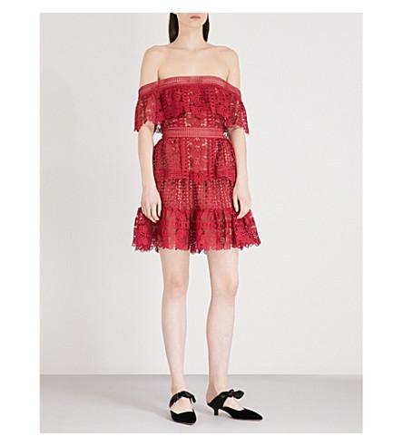 SELF-PORTRAIT Off-the-shoulder guipure-lace dress (Red