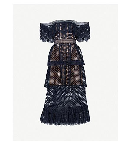 SELF-PORTRAIT Off-the-shoulder guipure-lace midi dress (Navy