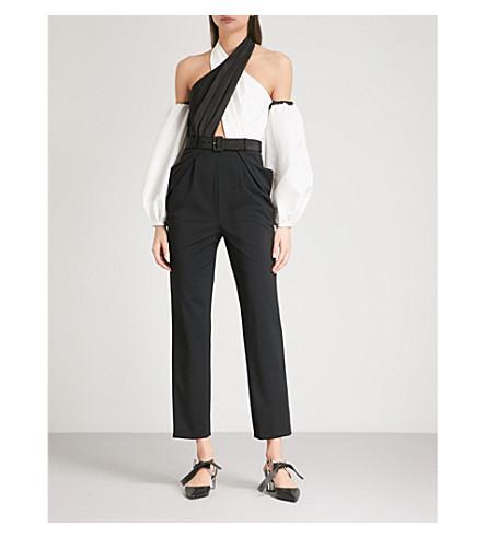 SELF-PORTRAIT Cross-front taffeta jumpsuit (Black-white
