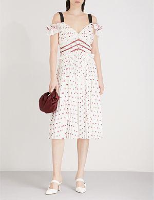 SELF-PORTRAIT Polka Dot cold-shoulder satin midi dress
