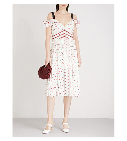 SELF-PORTRAIT Polka Dot cold-shoulder satin midi dress (Ivory