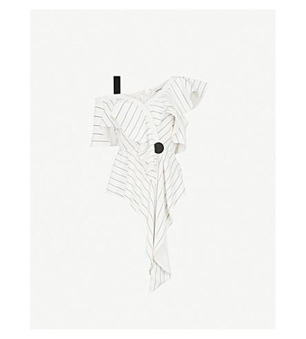 SELF-PORTRAIT Asymmetric Frill Monochrome Stripe crepe top (White