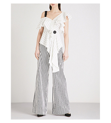 SELF-PORTRAIT Asymmetric Frill Monochrome Stripe crepe top (White