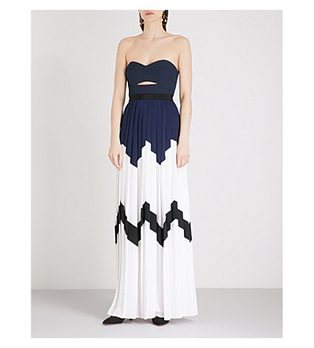 SELF-PORTRAIT Pleated Bandeau crepe maxi dress (Navy-white