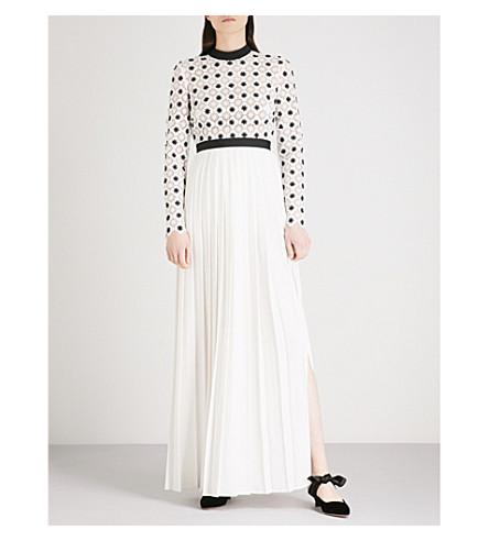 SELF-PORTRAIT 3D Floral Lace crepe maxi dress (White-black