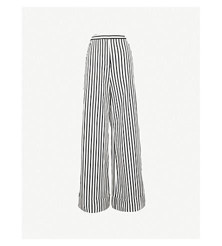 SELF-PORTRAIT Monochrome Stripe wide-leg stretch-cotton trousers (Black/white