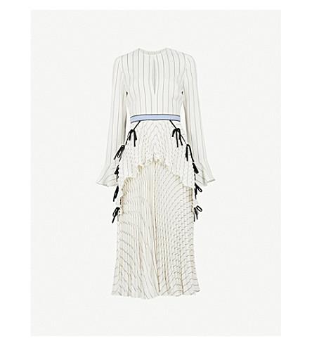 SELF-PORTRAIT Pleated Monochrome Stripe crepe midi dress (White