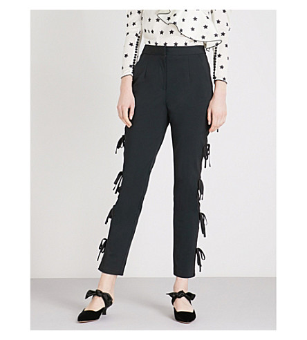 SELF-PORTRAIT Taffeta Bow straight shell trousers (Black