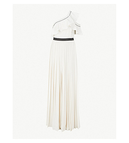 SELF-PORTRAIT Asymmetric satin and crepe maxi dress (White