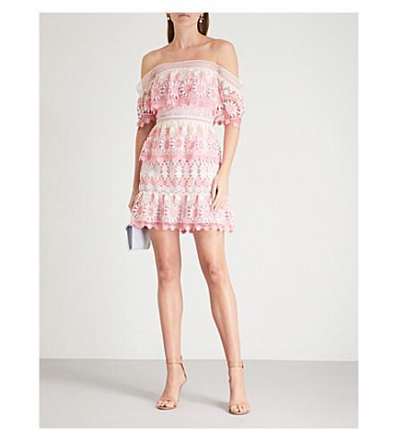 SELF-PORTRAIT Off-the-shoulder guipure-lace mini dress (Pink