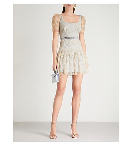 SELF-PORTRAIT Embroidered mesh mini dress (Gold-grey