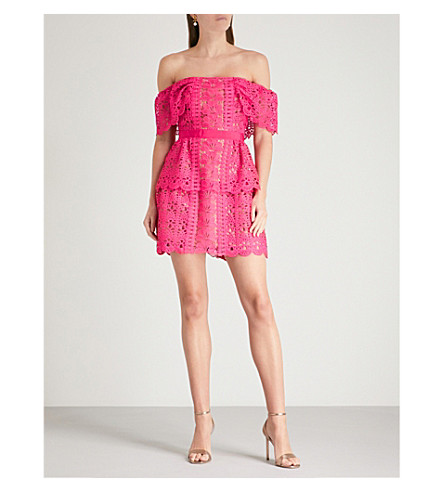 SELF-PORTRAIT Off-the-shoulder guipure-lace dress (Fuchsia