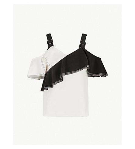 SELF-PORTRAIT冷肩绉顶 (黑白