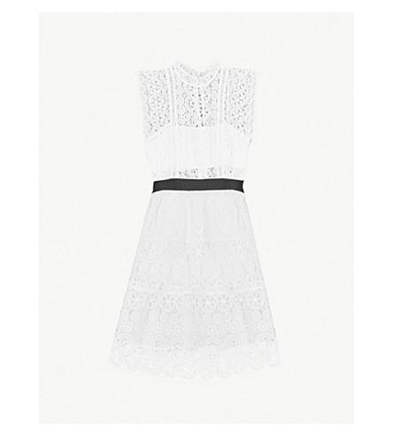 SELF-PORTRAIT Belted guipure-lace mini dress (White