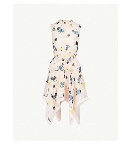 SELF-PORTRAIT Asymmetric graphic floral-print chiffon dress (Nude