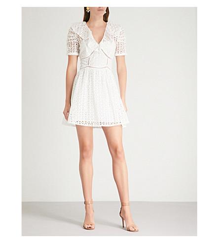 SELF-PORTRAIT Petal Broderie cotton mini dress (White