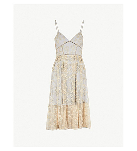 SELF-PORTRAIT Floral-embroidered mesh midi dress (Gold-grey
