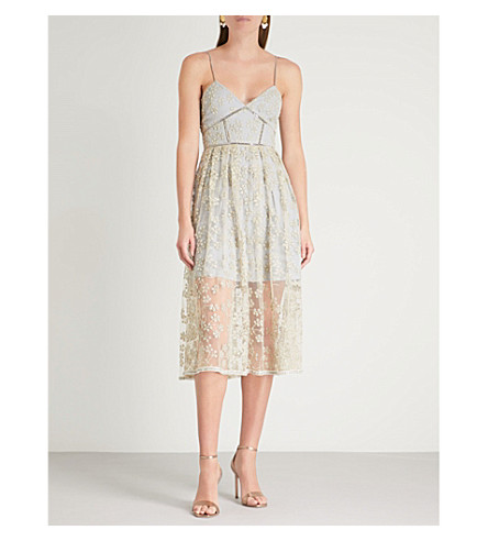 SELF-PORTRAIT Floral-embroidered mesh midi dress (Gold-grey