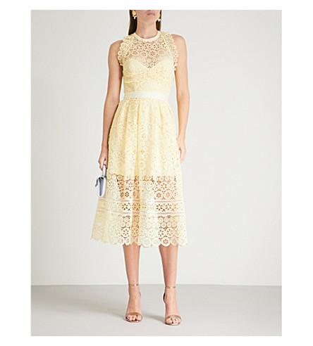 de Vestido encaje SELF midi RETRATO floral Amarillo círculo de naqYBH