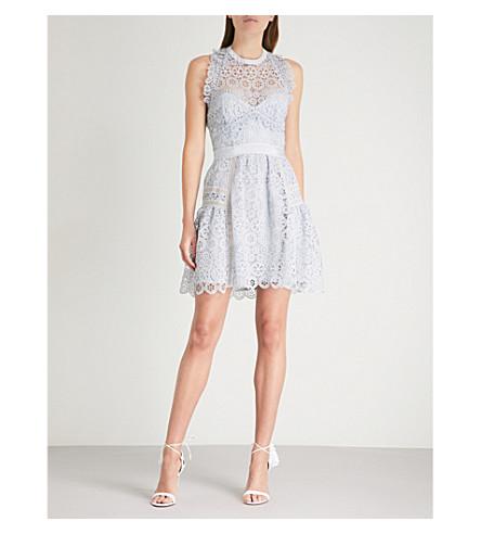 Circle Pale lace mini Floral SELF SELF PORTRAIT blue dress PORTRAIT wR7tt8