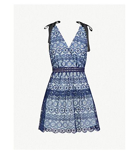 SELF-PORTRAIT Bow-embellished guipure-lace mini dress (Navy