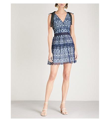 SELF-PORTRAIT Bow-embellished guipure-lace mini dress (Navy