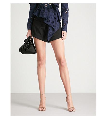 SELF-PORTRAIT Tie-front stretch-cotton canvas shorts (Black