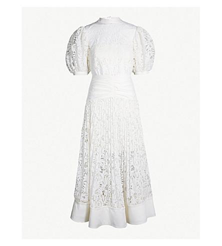 SELF-PORTRAIT Balloon-sleeve lace dress (Cream