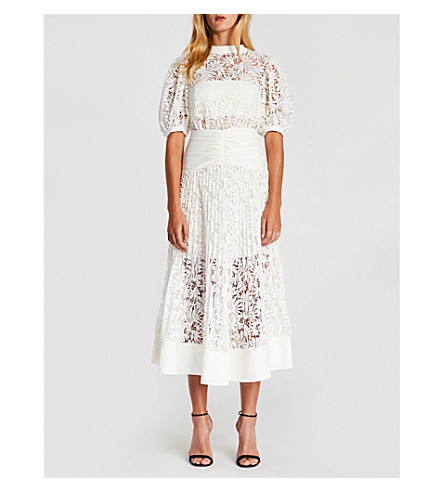 SELF-PORTRAIT Balloon-sleeve lace dress (Cream