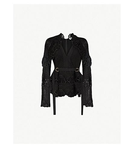 SELF-PORTRAIT Belted crochet jumper (Black