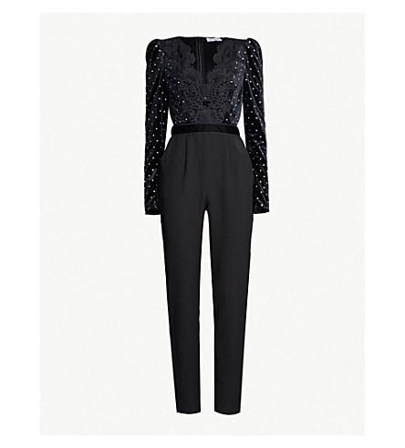 SELF-PORTRAIT Diamanté-embellished crepe, lace and velvet jumpsuit (Black