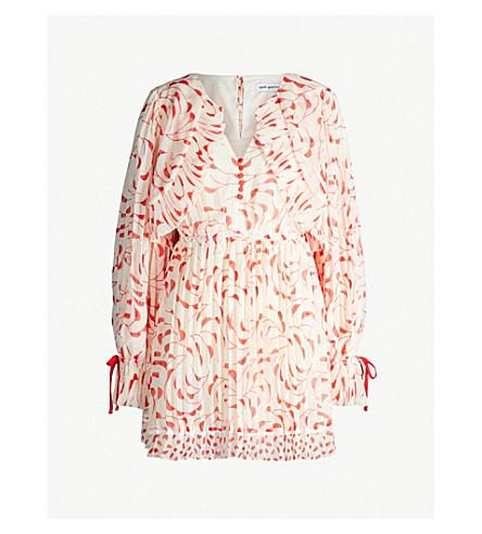 SELF-PORTRAIT Crescent-print chiffon cape dress (Cream red
