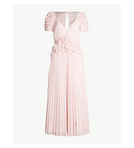 SELF-PORTRAIT Ruffled chiffon midi dress (Pink