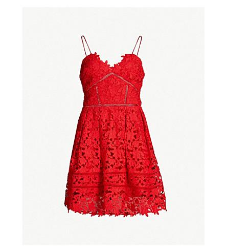 SELF-PORTRAIT Mini Azaelea guipure lace dress (Bright red