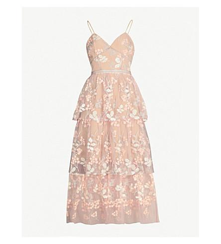 SELF-PORTRAIT Floral embellished tulle midi dress (Pink