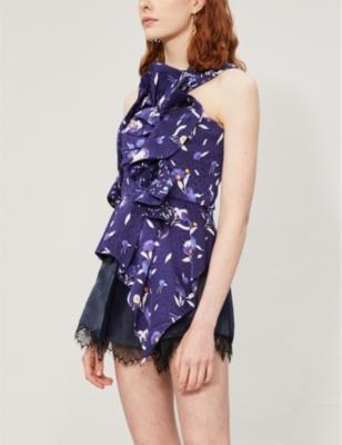 One-shoulder ruffled floral-print satin top