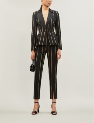 Striped twill jumpsuit