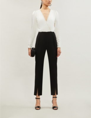 Crystall-embellished satin and crepe jumpsuit
