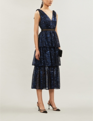 Check sequinned midi dress