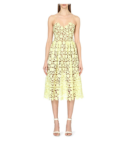 SELF-PORTRAIT Azaelea lace dress (Yellow