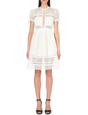 SELF-PORTRAIT Panelled embroidered-lace dress