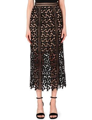 SELF-PORTRAIT Arabella lace midi skirt