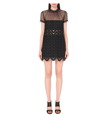 SELF-PORTRAIT Evie embroidered lace dress (Black